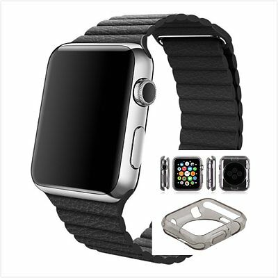Black Leather Watch Band Strap Magnetic For Apple Loop 42mm Clear Black Case