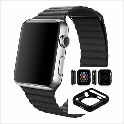 Black Leather Watch Band Strap Magnetic For Apple Loop 42mm w/ Black Case x 1