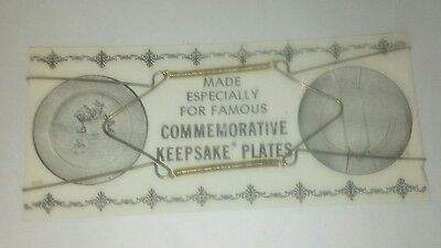 """Vintage- Brass Commemorative Plate Wall Hanger fits  8"""" to 11"""" plate new in pkg"""