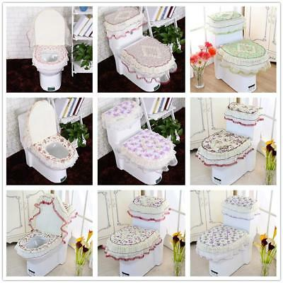 Hot 3PC Bathroom Set Toilet Seat Mat Tank Lid Top Cover Warm Washable Cloth New