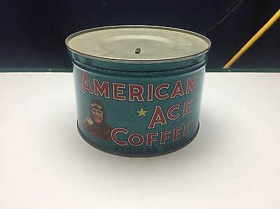 American Ace Coffee Tin Can, 1 Pound With Lid. Great Color And Condition