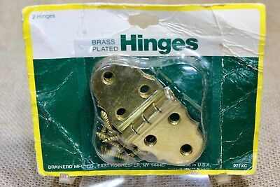 "2 Cabinet door butt hinges brass decorative 1 3/8 x 3"" jewelry box vintage NOS"
