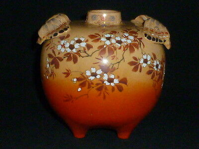 Delightful Antique Japanese Satsuma Vase with Flowers & Butterflies, 19thC