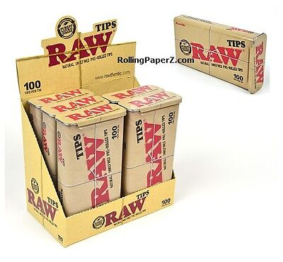 SIX - 100 Count RAW Pre-Rolled TIPS in KING SIZE STORAGE TINS / 600 tips total