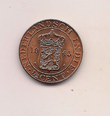 1945-P Netherlands East Indies 1/2 Cent--Mint Red Beauty !!