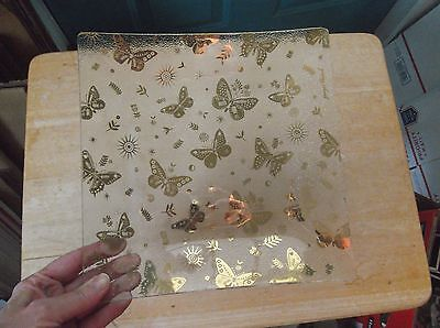 Georges Briard Gold Butterfly Square Glass Console Bowl