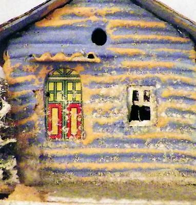 Vintage Christmas House Village Putz Train Display Blue Corrugated Brown Roof 50
