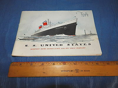 Vintage S.S. United States 1952 First Sea Trials Booklet, VERY NICE Collectible