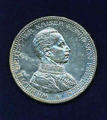 Germany  Prussia  1913-A  5 Mark Silver Coin, Uncirculated