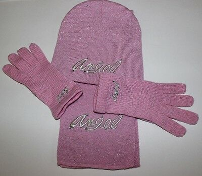 NEW Pink  w Silver Angel Girls Matching Hat Gloves & Scarf One Size