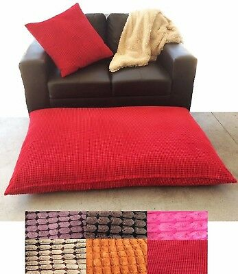 Huge Floor Cushion 100 x 145 cm Filled 15 Colours Thick Fill Removable Cover