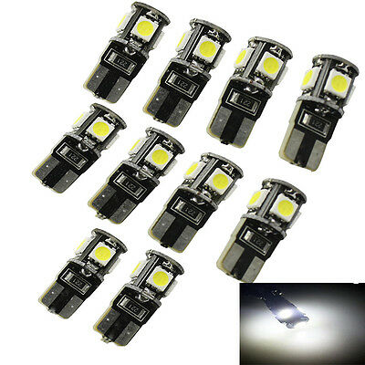 10 pcs Canbus Error Free White T10 5 SMD 5050 LED Interior Light Bulb W5W