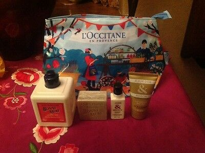 L'OCCITANE BONNE MERE GIFT SET PEACH SHOWER GEL 300ML, 100g SOAP COSMETICS CASE