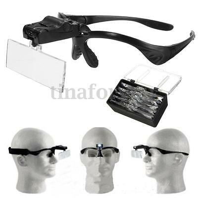 New 5 Lens Headset Magnifier Magnifying Glass Eyelash Extension LED & Hands