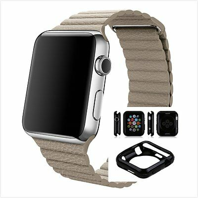 Beige Leather Watch Band Strap Magnetic Buckle Apple Loop 42mm w/ Black Case x 1
