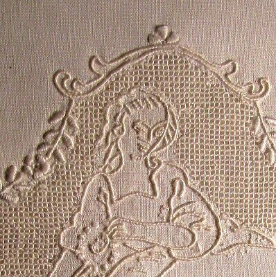 Antique Appenzell Linen Show Towel Figural Lady Punchwork