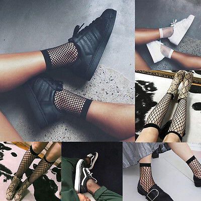 Women Girls Fishnet Ankle High Socks Lady Mesh Lace Fish Net Short Socks Sanwood