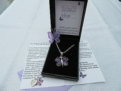 Unique Baby Loss Neonatal Stillborn Twin Baby Purple Butterfly Pendant Necklace