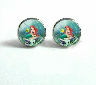 The Little Mermaid And Flounder Fish Glass Stud Earrings Silver In Gift Bag