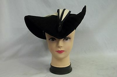 Vintage Womens Black & Off White Church Hat Band Designed By Sylvia