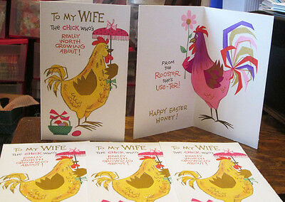 5 Vintage Rust Craft Old Unused Easter Chicken Glitter Wife Greeting Card Lot