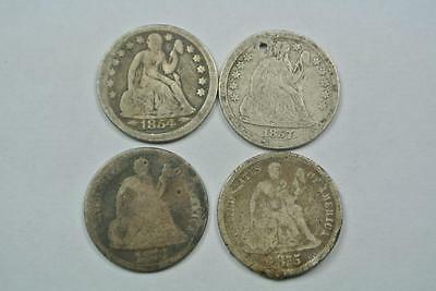1854 1857 1873 1875 Seated Liberty Dimes, Low Grade Fillers - C2915