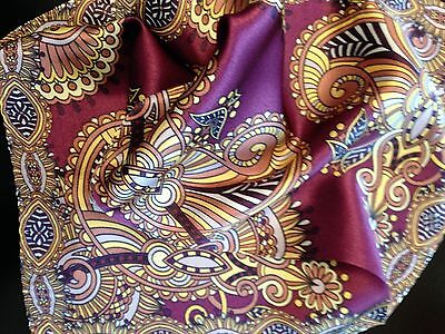 """New 14"""" 100% silk men's pocket square designer deep purple with yellow and brown"""
