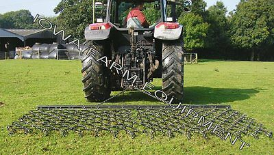 "Drag Harrow, Flexible, 12' Wide x 6' Long x 5/8"" Tines w/Drawbar: Triple Action!"