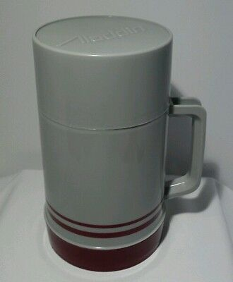 Vtg. Aladdin Thermos Plastic 1 Pint Wide Mouth Inner Safety Shield  Grey/Maroon