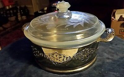 Fry Glass Round  Covered  Casserole Opalescent Pierced Metal Holder C:1920-1929