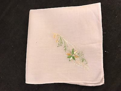 Vintage White With Green & Yellow Embroidery Flowers Ladies' Hankie/Handkerchief