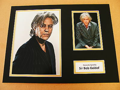 SIR BOB GELDOF HAND SIGNED AUTOGRAPH 16x12 PHOTO MOUNT BOOMTOWN RATS & COA