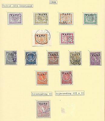Netherlands Indies stamps 1908 NVPH 63f-79f  CANC  VF  JAVA INVERTED