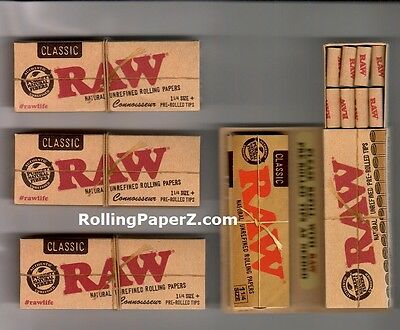 4 Packs of RAW CLASSIC Connoisseur 1 1/4 Size Rolling Papers + Pre-Rolled TIPS