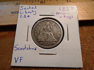 1853 Arrows & Rays US Seated Liberty Silver Quarter 25C - Free S&H USA