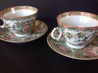 Two Antique Chinese 19C Qing Export Porcelain Famille Rose Cup & Saucer Sets