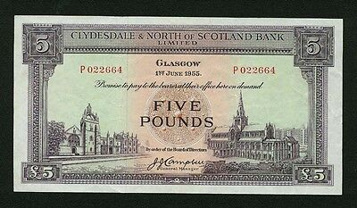"Scotland Glasgow  1955  5 Pounds  ""clydesdale & Nort Of Scotland Bank"" Banknote!"
