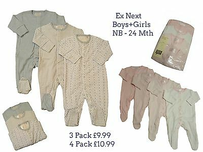 Babygrows Sleepsuits Baby Girls Boys Ne,xt 3/4 Pack 100% Cotton Playsuit