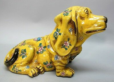 Fine SIGNED 19th C. CHINESE Art Pottery Hound Dog  c. 1890  Chinese