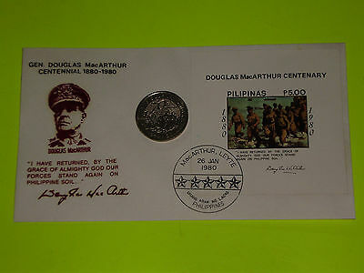 PHILIPPINES STAMP COVER & COIN GEN. Douglas MacArthur * 5 PESO 70th LEYTE LAND