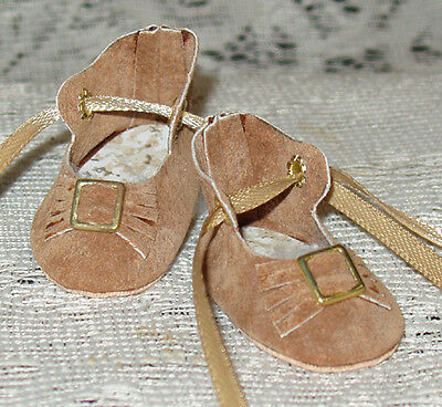 For Bleuette~Handmade Leather Doll Shoes ~German Style~ Gold Suede