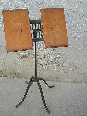 Antique Cast Iron Oak Bible Book Music Holder Stand