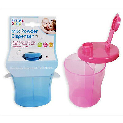First Steps Baby Formula Milk Powder Dispenser 3 Sections Container Storage Box