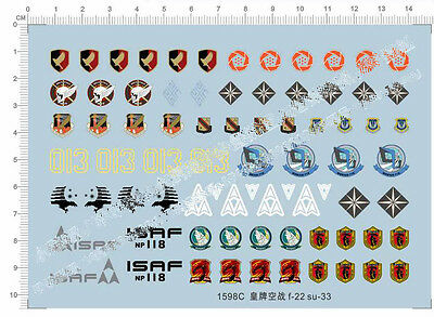 1/72 Ace Combat F-22 Su-33 Fighter Model Kit Water Decal