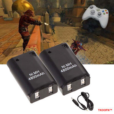 2x XBOX 360 PLAY AND CHARGE KIT 4800mAH RECHARGEABLE BATTERY PACK & CABLE LEAD