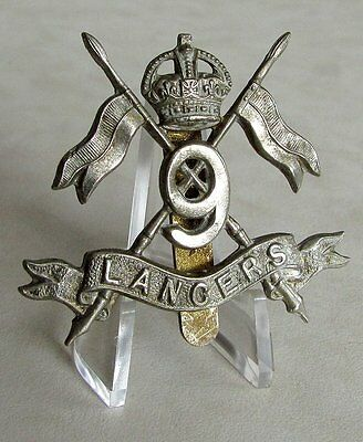 U.K Great Britain British Army The 9th Lancers Cap Badge - King's Crown
