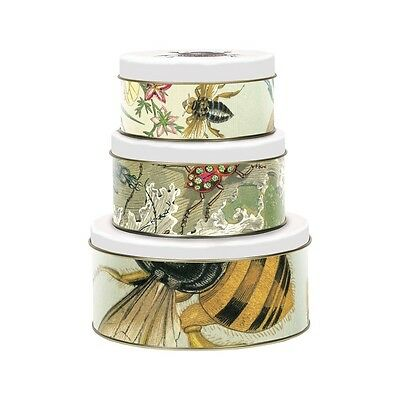 Set of 3 Nesting Tins by MAGPIE - CURIOUS range, Round StorageTins - Insect Bugs