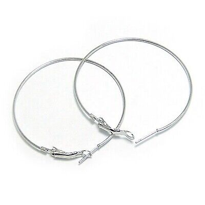 "20 Silver Plated Large Round Hoop Earring Hooks 60mm(2.4"") for Earring Making"