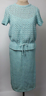 Vintage skirt set Dalton Knit Coordinates robins egg blue and white 1957 sz 14