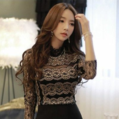 Sexy Elegant Women Lace Hollow Out Long Sleeve Shirts T-Shirt Tops Blouse